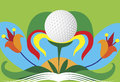 Abstract colorful golf flower green golf motive vector illustration Stock Image