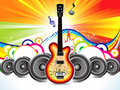 Abstract colorful guitar with sound concept Royalty Free Stock Photo