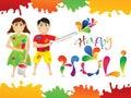 Abstract colorful holi cartoon playing holi