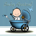 Abstract colorful illustration with baby carriage with a little baby inside baby arrival theme Stock Image
