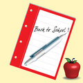 Abstract colorful illustration with a red apple and the text back to school written with a blue pen on a notebook Royalty Free Stock Image
