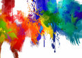 Abstract colorful paint stroke on white background digital painting Stock Photography