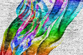 Abstract colorful painting over brick wall Royalty Free Stock Photo