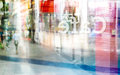 Abstract colorful and pastel people walk at front coffee shop and text cafe flip in back of mirror, soft and blur concept Royalty Free Stock Photo