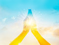 Abstract colorful respect and pray on sky background Royalty Free Stock Photo