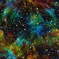 Abstract colorful universe.  Nebula night starry sky. Multicolor outer space.  Texture background. Seamless illustrationn. Royalty Free Stock Photo