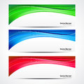 Abstract colorful wave banner set vector illustration Stock Photos