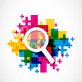 Abstract colorful zoom in icon background Stock Images