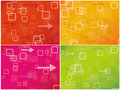 Abstract colourful combo background with squares and arrows Stock Photography