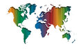 Abstract colourful straight lines world map