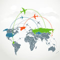 Abstract communication scheme of foreign flights Stock Image