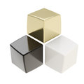 Abstract composition of black golden and white cubes Stock Images