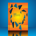 Abstract composition blue polygonal triangle on a orange background A4 brochure title sheet eps 10