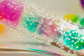 Abstract composition with underwater tubes with colorful jelly balls inside and bubbles textures colors Stock Photography