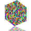 Abstract composition which shows a cube with different colored icons on the faces on a white background Stock Photos