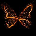 Abstract conceptual design - a fiery butterfly shape. Royalty Free Stock Photo