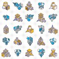 Abstract construction isometric designs, vector set. Royalty Free Stock Photo
