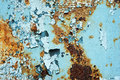 Abstract corroded colorful wallpaper grunge background iron rusty artistic wall peeling paint. Royalty Free Stock Photo