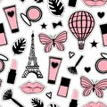 Abstract cosmetic. Seamless pattern fashion style. Paris Eiffel Tower sign. Vector illustration girly stickers isolated on white
