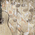 Abstract cracked background accoustic guitar Stock Photos