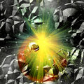Abstract cracked background with rays and stars Royalty Free Stock Photo