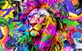 Abstract creative illustration with colorful lion Royalty Free Stock Photo