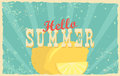 Abstract creative vector design layout with text - hello summer. Vintage concept background, art template, retro