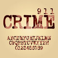Abstract criminal alphabet and digit vector set of Stock Photo