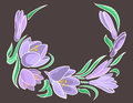 Abstract crocuses with grey background Royalty Free Stock Images