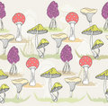 Abstract cute seamless colorful mushroom pattern Stock Photography