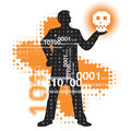 Abstract cyberspace background binary code male silhouette holding skull vector illustration Stock Photo