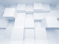 Abstract d architecture background with cubes white Stock Photo