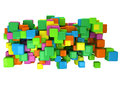 Abstract d background with colored cubes on white Royalty Free Stock Photography