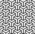Abstract 3d cubes geometric seamless pattern in black and white, vector Royalty Free Stock Photo