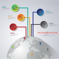 Abstract d digital illustration infographic with world map can be used for workflow layout diagram number options web design Stock Images