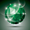 Abstract 3D emerald gleam sphere with sparkles, green precious s Royalty Free Stock Photo