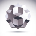 Abstract 3D origami polygonal object, vector geometric design el