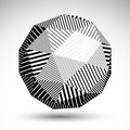 Abstract 3D rounded vector contrast figure constructed from stri