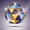 Abstract d schijnselgebied met geometrische glanzende die orb wordt gecreeerd van Royalty-vrije Stock Afbeelding