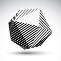 Abstract 3D spherical vector contrast pattern, art orb striped,
