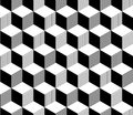 Abstract 3d striped cubes geometric seamless pattern in black and white, vector Royalty Free Stock Photo