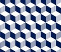 Abstract 3d striped cubes geometric seamless pattern in blue and white, vector Royalty Free Stock Photo