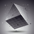Abstract 3D structure polygonal vector network pattern, grayscale art deformed figure placed over contrast background.
