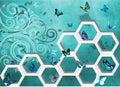 Abstract 3D Wall Art Blue Butterfly