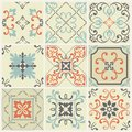 Abstract damask patterns set of nine seamless in retro style for design use. Vector illustration.