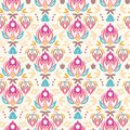 Abstract damask tulips seamless pattern background vector with hand drawn elements Stock Image
