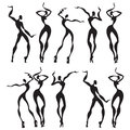 Abstract dancing figures vector illustration Royalty Free Stock Photography