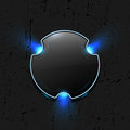 Abstract dark glossy button with blue shines Royalty Free Stock Photo