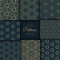 Abstract dark patterns pack in floral style in gold color Royalty Free Stock Photo