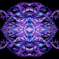 Abstract Dark Purple And Blue Lines In Round Shape; Formed In Symmetrical Face. Square And Seamless Pattern.